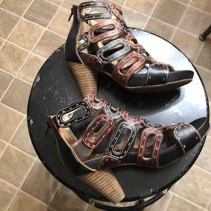 Spring Step Joyous caged heel leather sandal sz 37